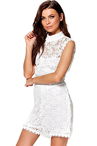 Ivoire Femme Emily All Over Lace High Neck Playsuit Ivoire