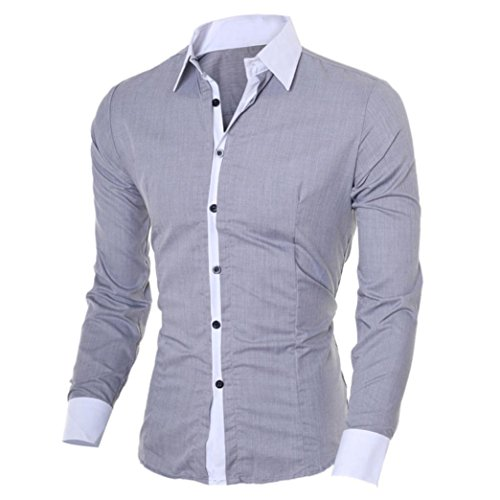 Herren Hemd Longra Herren Langarmshirt Casual Slim Fit Langarm Hemd Oberseiten-Bluse Gray