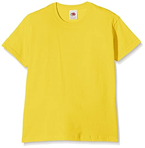Fruit of the Loom SS132B - T-Shirt - Fille - Jaune - 128 Cm, 7-8 Ans