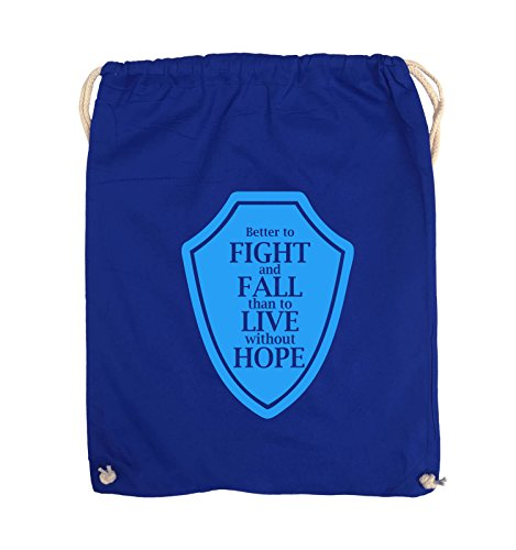 Comedy Bags - Better to fight and fall than to live wihtout hope - Turnbeutel - 37x46cm - Farbe: Schwarz / Pink Royalblau / Blau