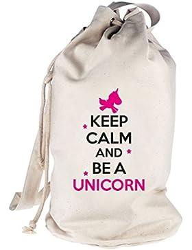 Keep Calm And Be A Unicorn, Einhorn bedruckter Seesack Umhängetasche Schultertasche Beutel Bag