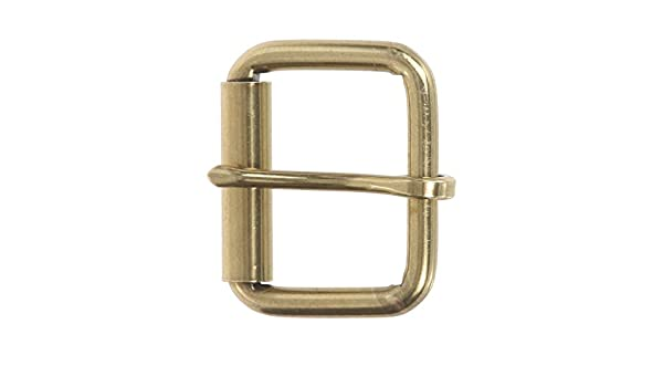"1-3//4/"" Solid Brass Belt Buckle With Roller"