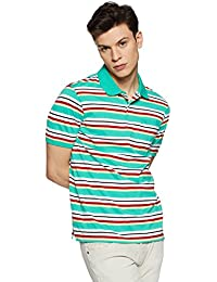 Peter England Men's Striped Regular Fit T-Shirt