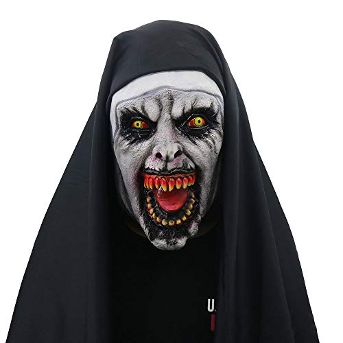 TIKENBST Geistige 2 Nonne Maske Halloween Horror Scary Female Ghost Face Ordentlich Party - Pferd 2 Person Kostüm