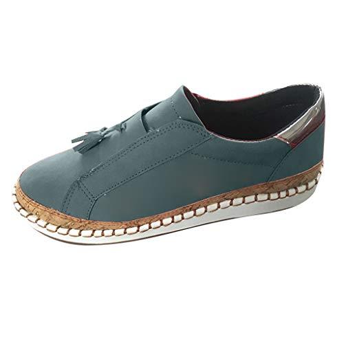 Damen Sneaker Bootsschuhe Loafers Arbeitsschuhe Fahren Flache Schuhe Halbschuhe Slippers Erbsenschuhe Sandale Vintage Sandalen Schnürhalbschuhe Freizeitschuhe (EU:35, Blau)