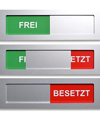 Promessa-Design Frei - Besetzt Schild Modell S aus Aluminium - Mit Schieber - Schiebeschilder - Frei Besetztschild zum Kleben - 10 cm x 2,8 cm x 4 mm - Starke 3M Klebefläche - Besprechungsraumschild