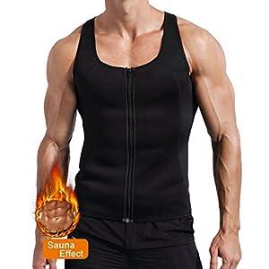Novasoo Männer Abnehm Neopren Sweat Sauna Anzug Taille Trainer Reißverschluss Weste Korsett Body Shaper Tank Top