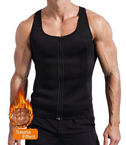 Novasoo Männer Abnehm Neopren Sweat Sauna Anzug Taille Trainer Reißverschluss Weste Korsett Body Shaper Tank Top (L) - Body Shaper Tank Top