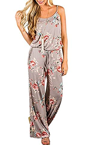 Zhaoyun Womens Floral Printed Halter Sleeveless Wide Long Pants Jumpsuit Khaki-2XL
