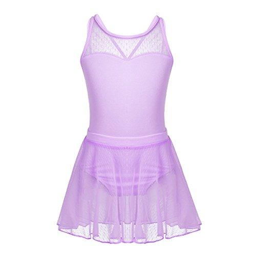 iixpin Mädchen Ballett Trikot mit Chiffon Rock Kinder Ballett Kleider Ballettanzug Tanz Kostüm, 4-12 Jahre Lavender 140
