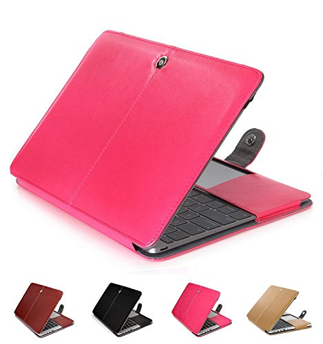 Price comparison product image MacBook Pro 13 inch Case,Miya Luxury Classic Design Clip On Sleeve Book Cover PU Leather Case Slim Fit Ultra Thin Precise Cut-Out Business Cover for Macbook Pro 13.3 InchHop Pink