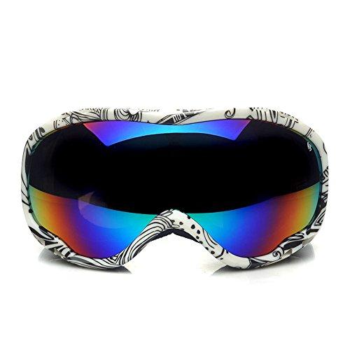 LYLhmj Skibrille, Outdoor-Sport Snowboard-Schutzbrillen mit Anti-Nebel UV-Schutz sphärische Linse, winddicht Ski-Schutzbrillen für Motorrad Fahrrad Skifahren Skaten