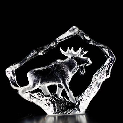 MATS JONASSON ART GLASS SCULPTURE MINIATUTRE MOOSE BULL , AUTHENTIC, ORIGINAL & SIGNED IN ORIGINAL