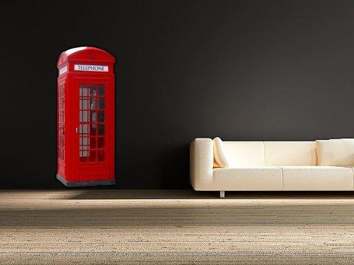 Volle Farbe Britisch Rote Telefonzelle Wandsticker Aufkleber Wohnzimmer Telefon - Rot, Large - Telefon Telefonzelle