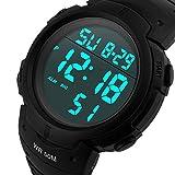 CFGem Herren Uhr Digitaler Sport Wasserdicht mit PU-Kunststoff Armband SKM-1688 Schwarz