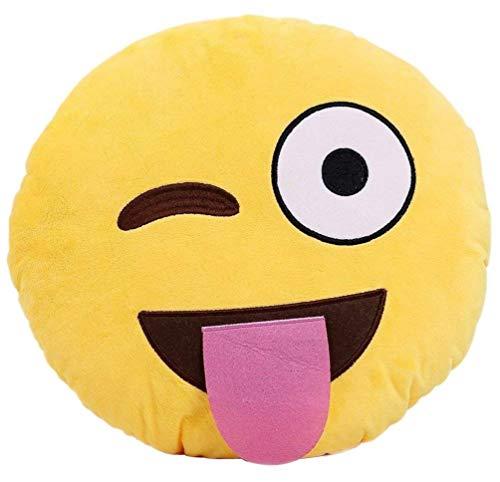 KayMayn smiley Emoji cuscino rotondo 32cm, emoticon carino morbido peluche comodo cuscino peluche smiley, peluche giocattolo morbido Style 10
