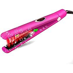 Fer à lisser et bigoudi portables + Écran LCD numérique + Température ajustable + Combinaison à extinction automatique pour tous les types de cheveux, Lisseur à cheveux à anions infrarouge prof