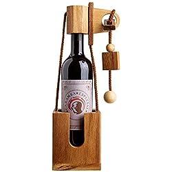 Puzzle casse-tête bouteille en bois foncé - Casse-tête en bois - Boîte à vin - Idée cadeau d'anniversaire, Noel, fête des pères - Emballage original - Enigme difficile - Paquet humoristique compliqué