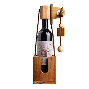 Flaschen-Puzzle aus dunklem Edelholz - Geschenk-Verpackung für Weinflaschen - Geduldsspiel - Denkspiel - Geschenkidee für Weintrinker zum Geburtstag - Lustige Verpackung für Rotwein oder Weißwein