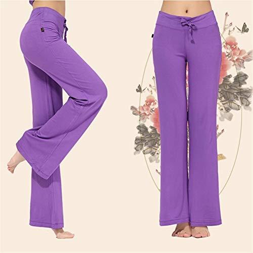 LAOBIAOZI Breites Bein Sport Hosen Frauen Hohe Taille Stretch Bandage Flare Hosen Breites Bein Tanz Yoga Hosen Lange Hosen S-4XL (Color : Purple, Size : XXL) Purple Flare-hose