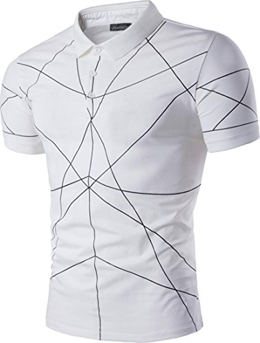 jeansian Herren Slim Fit Summer Outdoor Casual Short Sleeves Polo T-Shirt Tee Tops D801 White