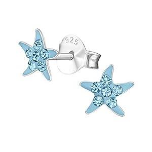 Laimons Mädchen Kids Kinder-Ohrstecker Ohrringe Seestern Stern mit glitzer hellblau blau 6mm Sterling Silber 925