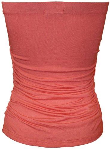 WearAll - Uni bustier bandeau top ruché sans bretelles - Hauts - Femmes - Tailles 36 à 42 Corail