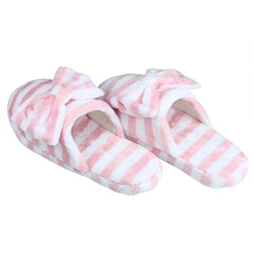 Donna Casa scarpe antiscivolo ,Amlaiworld Pantofole di cotone morbido caldo coperta con fiocchi Rosa