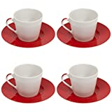 Bialetti Classic Tazze Ceramic Cappuccino Cups and Saucers Set of 4 x 210ml Large Designer Italian Cappiccino/Tea Mug & Modern Round Saucers