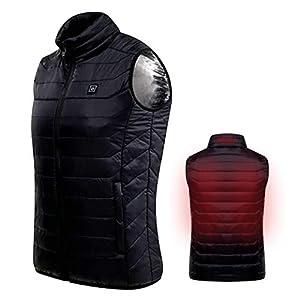 Hivexagon Beheizte ärmellose Puff Weste Top Isolierte Jacke mit Reißverschluss, beheizte Weste Jacke, Elektrische Weste mit Netzdetails, beheizter USB-Körperwärmer Ideal Unisex