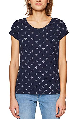 edc by ESPRIT Damen 999CC1K803 T-Shirt, Blau (Navy 2 401), Large (Herstellergröße: L)