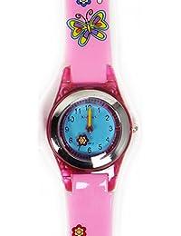 Reloj Kids analógico de cuarzo para niña chica MARIPOSA en caja de regalo, resitentes al agua (3ATM), Mecanismo Seiko, Bateria Sony, Rosa