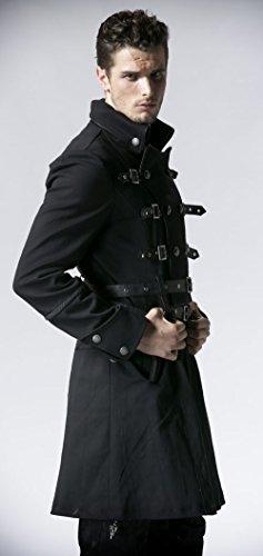 Manteau noir avec sangle et ceinture Gothique Punk Rave Y-557 Noir
