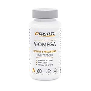 Premium Omega 3 Kapseln hochdosiert vegan mit Vitamin E   Die pflanzliche Alternative zu Fischöl-Kapseln für Ihr Immunsystem   Algen-Öl mit hochdosiertem EPA & DHA   PROFUEL® V-OMEGA – 60 Soft Caps