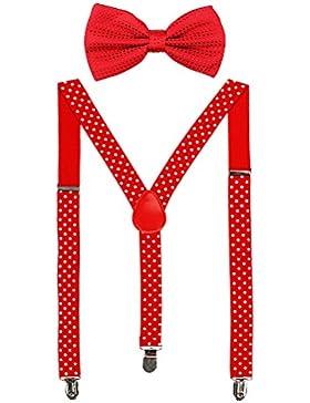 HABI mehrfarbig elastisch gepunktet Hosenträger Y-Form Länge für Damen und Herren mit den starken Clips Playshoes...