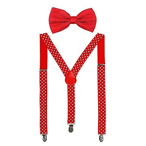 HABI mehrfarbig elastisch gepunktet Hosenträger Y-Form Länge für Damen und Herren mit den starken Clips Playshoes und Fliege in verschiedenem Design