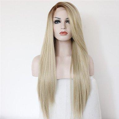 ige Perücke lange Gerade Haar Ombre 2Ton Farbe Braun Blond hitzebeständig klebefreien Half Hand auf Synthetische Lace Front Perücken, braun (Billig Lange Perücken)