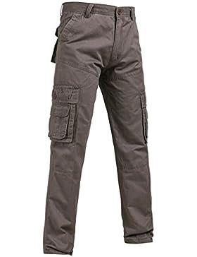ZKOO Cargo Pantalones Algodón Pantalon De Color Sólido Pantalones De Trabajo Militar Casual Pantalones De Trabajo...