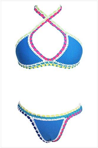 meinice Handmade Crochet in neoprene in lattice Costume da bagno Blue Medium
