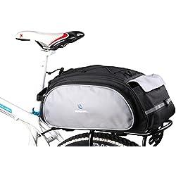 DCCN Alforja para bicicleta trasera bicicleta trasera para bicicleta de equipaje grandes rack impermeable Asiento Trasero Bolsa de transporte verde militar 13L con alta calida
