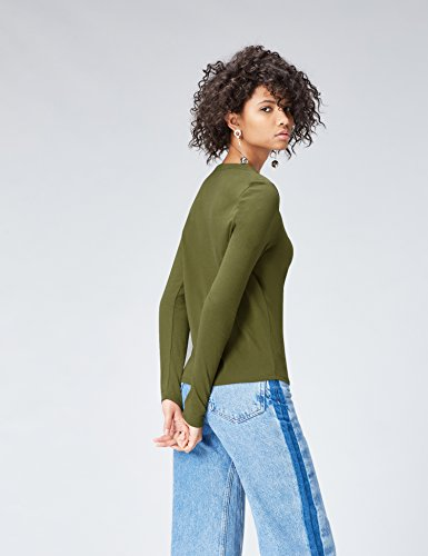 FIND Damen T-Shirt Basic Detail Grün (Green Khaki)