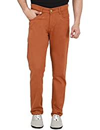 Nimegh Rust Colored Cotton Casual Slim Fit Solid Trouser For Men's