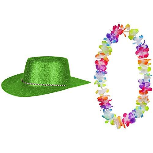 2er Set - Cowboy Hut Neongrün Glitzer und Hawaii Kette Fasching Masken Perücke Maske Blumenkette Pastellfarben Sheriff Texas (Billig Kinder Cowboy-hut)