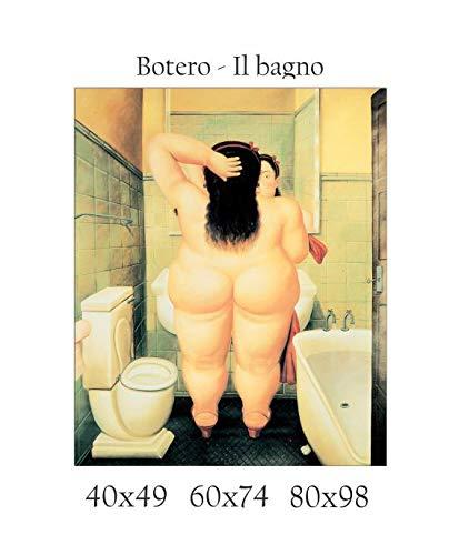 Impresión en lienzo, con diseño de «Baño» de Botero, 100 % fabricado en Italia, efecto pintado, idea para regalo, para casa, como cuadro de cocina, dormitorio o sala de estar