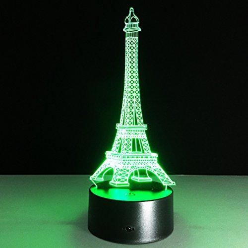 JXJJD Eiffelturm beleuchtet kreative Geschenke bunte LED-Induktion beleuchtet Nachtlichter der Architektur-Tischlampen