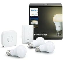 Philips Hue White Starter Kit con 3 Lampadine LED E27, 1 Bridge e 1 Telecomando Dimmer Switch, luce bianca calda, 9W