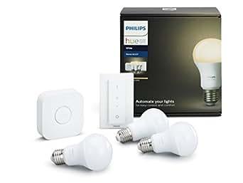 Philips Hue White Starter Kit con 3 Lampadine, E27, 1 Bridge e 1 Telecomando Dimmer Switch, Compatibile con Google Assistant