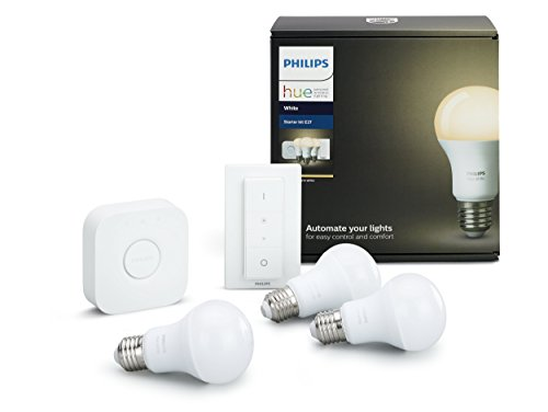 Philips Hue White - Kit de 3 bombillas LED E27, puente e interruptor o mando, 9 W, iluminación inteligente, luz blanca cálida regulable (compatible con Amazon Alexa, Apple HomeKit y Google Assistant)