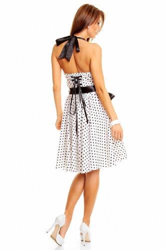 Neckholder Rockabilly Kleid 50er Jahre mit Pünktchen, Weiß - 2