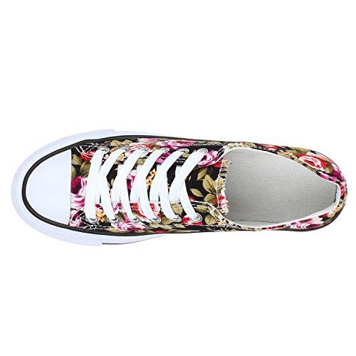 Fiori Scarpe Sneakers Fantasia Tela Donna Basse Denim In XxYfRxU